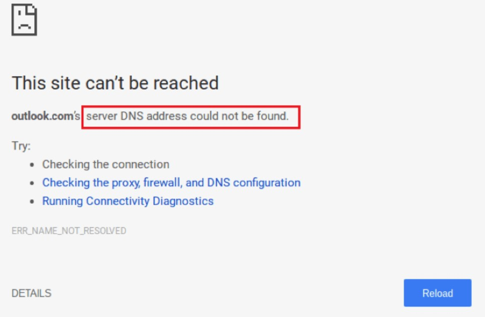 Server DNS Address Could Not Be Found